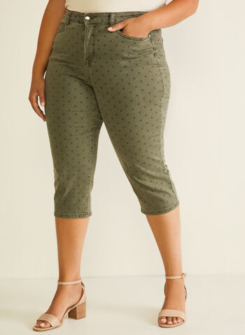Polka Dot Print Denim Capris, Green,  capris, denim pockets, polka dot, spring summer 2020