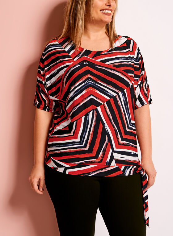 Side Tie Graphic Print Top, Red, hi-res