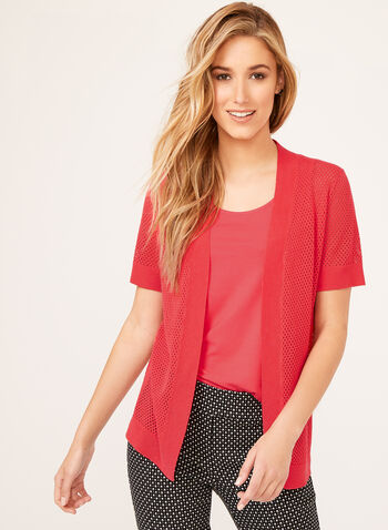 Short Sleeve Pointelle Cardigan, Pink, hi-res