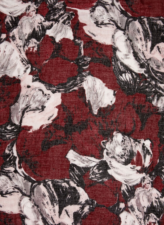 Floral Print Lightweight Scarf, Red, hi-res