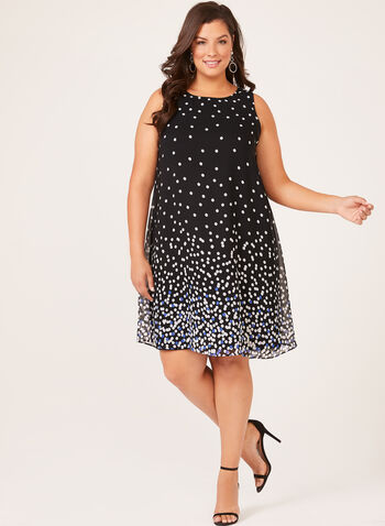 Sleeveless Polka Dot Print Dress, Black, hi-res