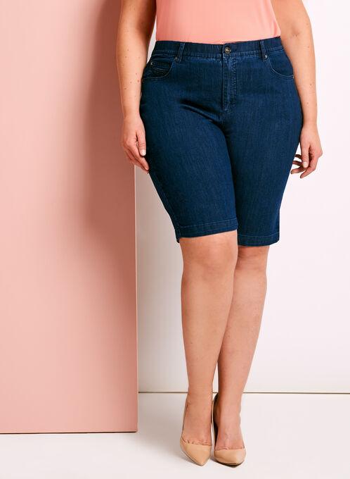 Simon Chang Embellished Denim Shorts, Blue, hi-res