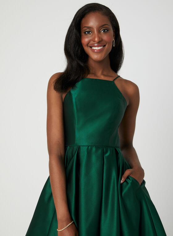 Satin Fit & Flare Dress, Green
