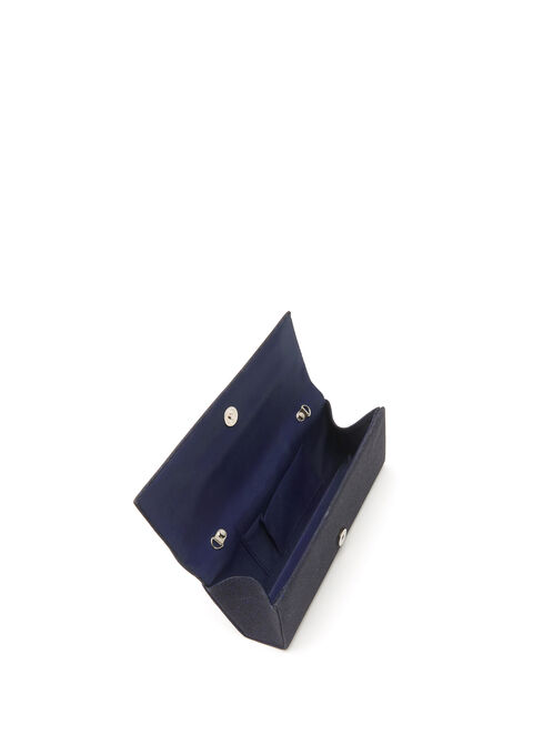 Glitter Flapover Clutch, Blue, hi-res