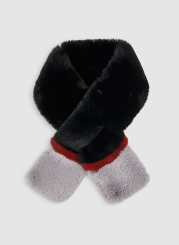 Faux Fur Colour Block Scarf, Black,  scarf, faux fur, faux fur scarf, colour block, fall 2019, winter 2019
