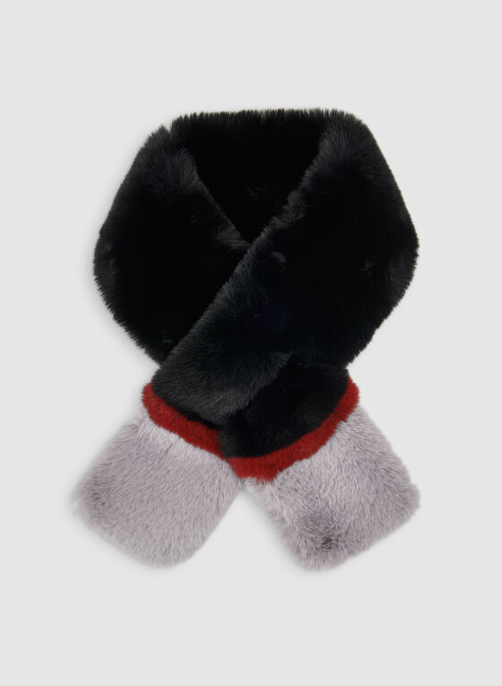 Faux Fur Colour Block Scarf, Black