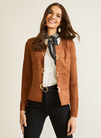 Vex - Eyelet Detail Faux Suede Jacket, Brown,  fall winter 2020, jacket, faux suede, metallic, eyelets, made in canada