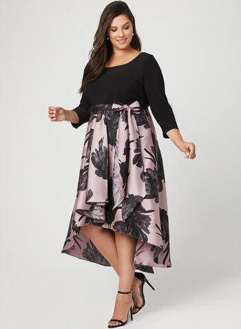 Floral Print High Low Dress, Black, hi-res