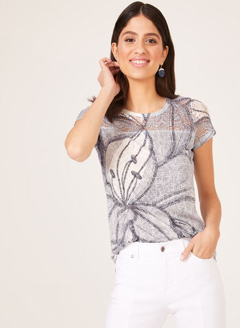 Floral Print Lace Detail T-Shirt, White, hi-res