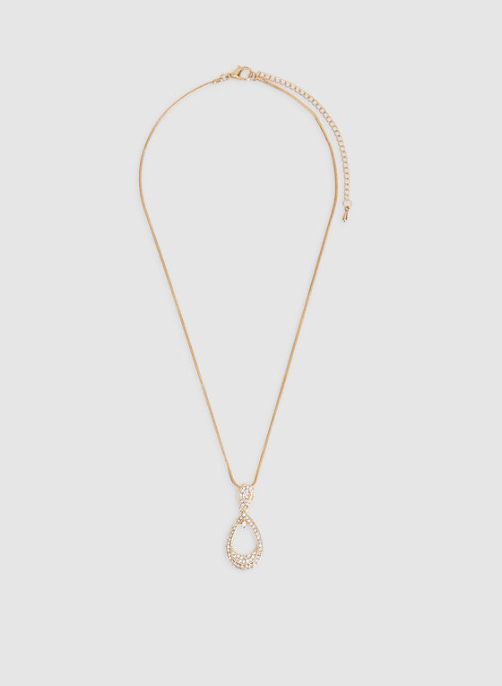 Crystal Teardrop Necklace, Gold