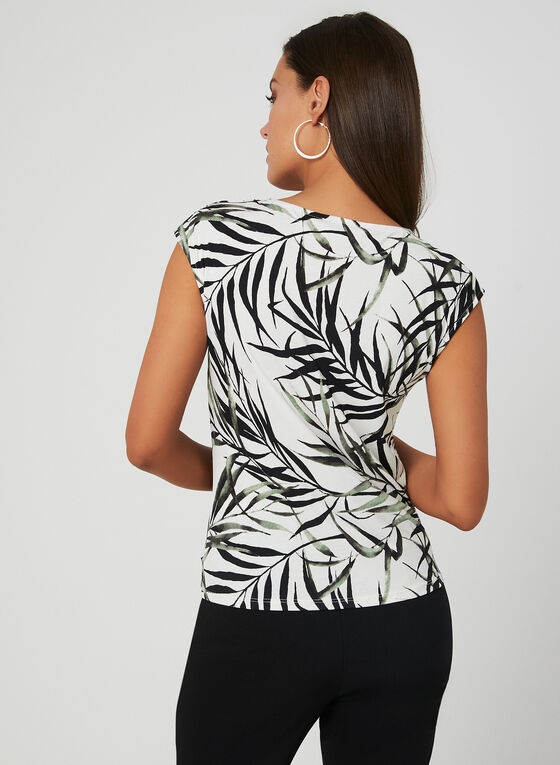 Leaf Print Drop Shoulder Top, Green, hi-res