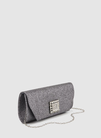 Crystal Detail Clutch, Grey,  fall winter 2019, crystal detail, glitter