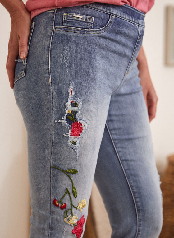 Floral Embroidery Jeans, Blue