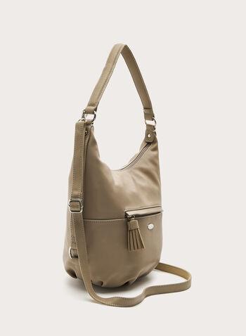 David Jones Paris - Faux Leather Hobo Bag, Brown, hi-res