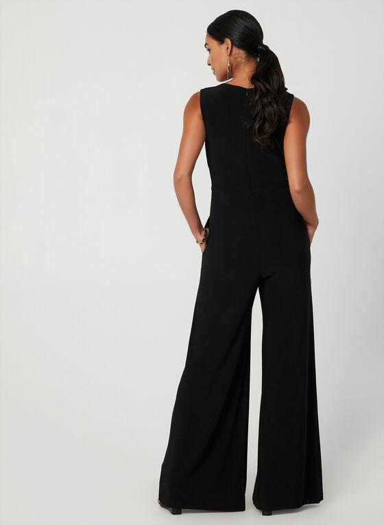 Metallic Wide Leg Jumpsuit, Black