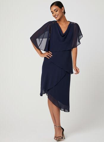 Asymmetric Tiered Chiffon Dress, Blue, hi-res