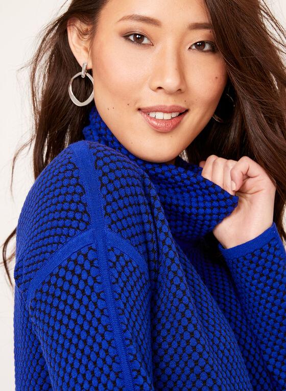 Dot Print Funnel Neck Sweater, Blue, hi-res