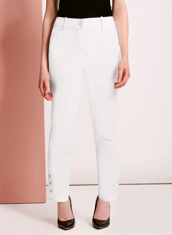 Sateen Grommet Trim ⅞ Pants, White, hi-res