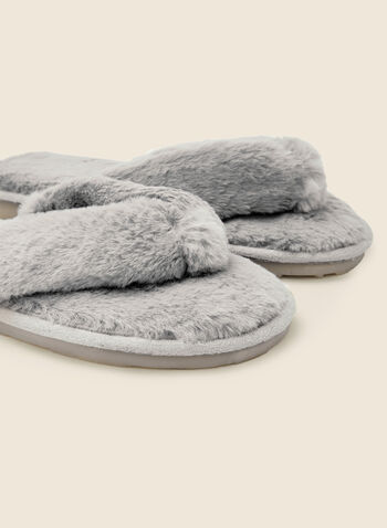 Plush Flip Flop Slippers, Grey,  holiday, gift, holiday 2020, slipper, flip flop, sandal, plush, fall winter 2020
