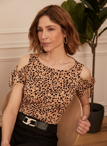 Leopard Print Cold Shoulder Top, Brown,  spring summer 2021, made in Canada, top, shirt, blouse, crepe, tie detail, animal print, leopard print, cheetah print, scoop neck, cold shoulder, short sleeve, knit