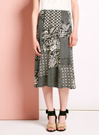 Mixed Graphic Print A-Line Skirt, Black, hi-res