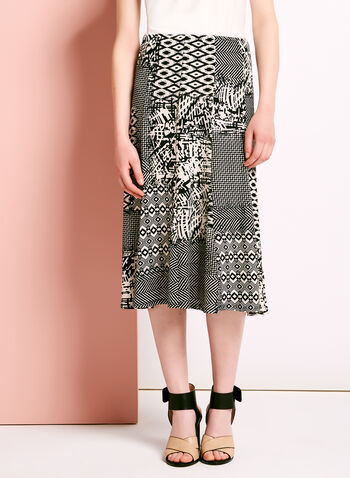 Mixed Graphic Print A-Line Skirt, , hi-res