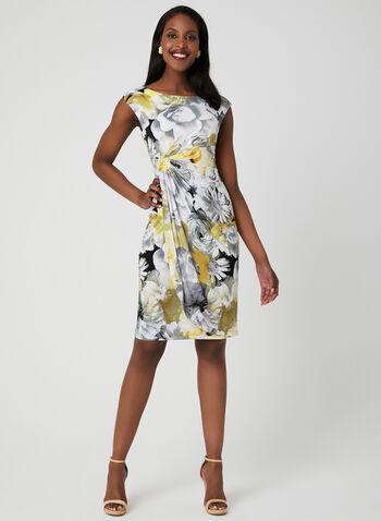 Robe fleurie style enveloppe, Jaune,  robe de jour, fleurs, mancherons, col dégagé, enveloppe, printemps 2019