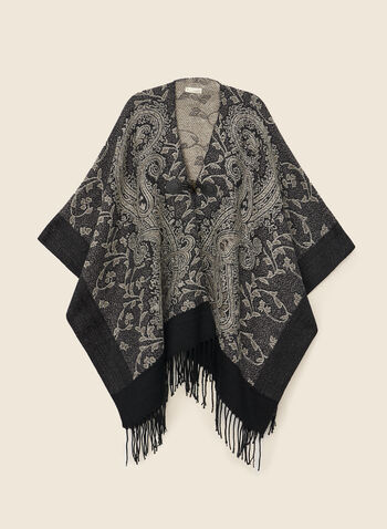 Paisley Jacquard Wrap, Black,  wrap, fringe, jacquard, paisley, acrylic, fall winter 2020