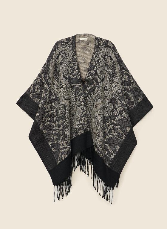 Paisley Jacquard Wrap, Black