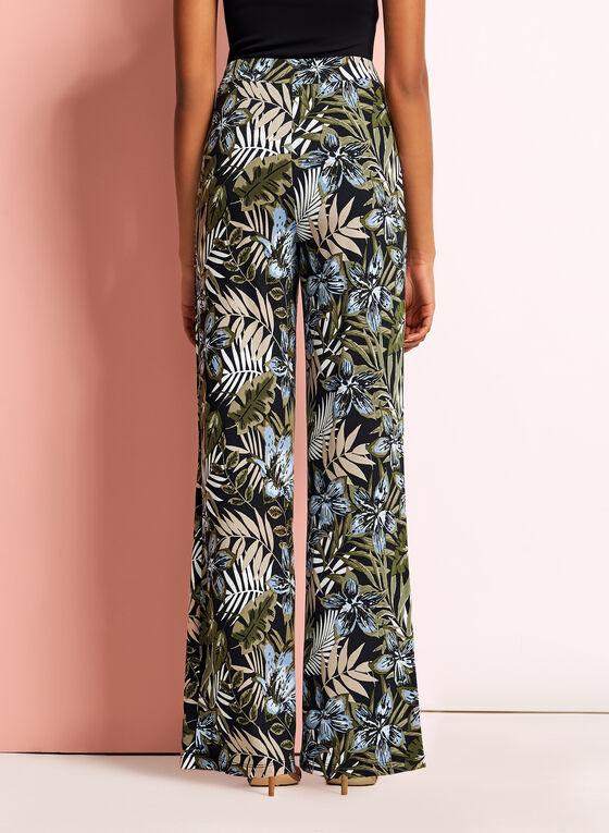 Tropical Print Wide Leg Pants, Black, hi-res