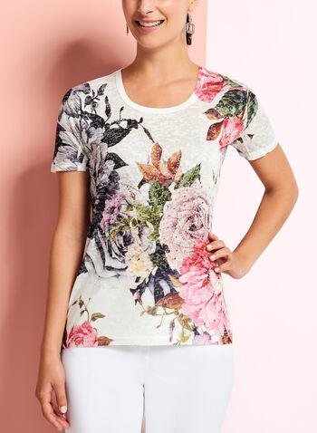 Floral Print Burnout T-Shirt, , hi-res