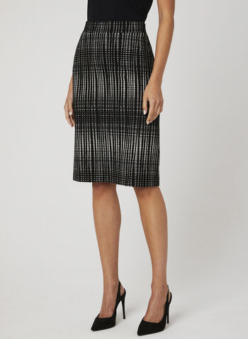 Geo Print Straight Skirt, Black, hi-res