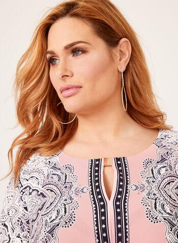 Paisley Print Jersey Dress, Pink, hi-res