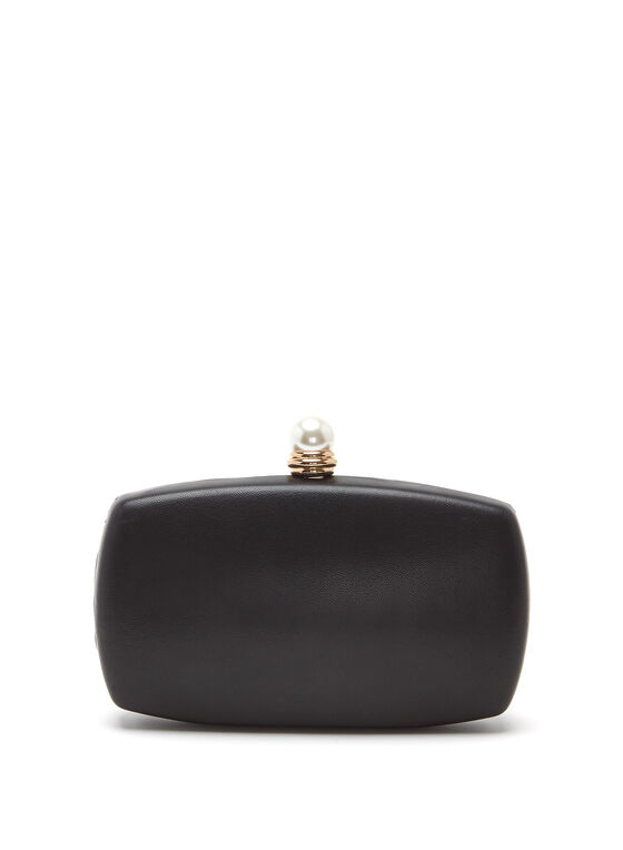 Pearl Studded Box Clutch, Black, hi-res