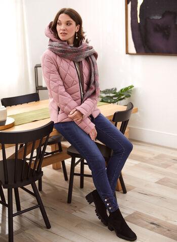 Bernardo - Chevron Quilted Ecoplume™ Coat, Pink,  fall winter 2021, coats, jackets, outerwear, Bernardo, chevron, v shaped, quilt, quilted, diamond, synthetic, faux, down, vegan, hood, long sleeves, zipper, environmental