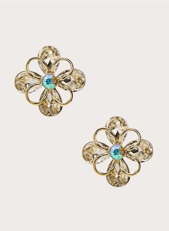 Boucles d'oreilles avec fleur en pierres, Argent, hi-res