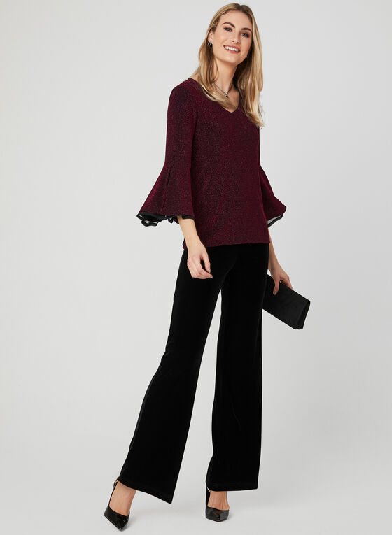 Metallic Bell Sleeve Blouse, Black, hi-res