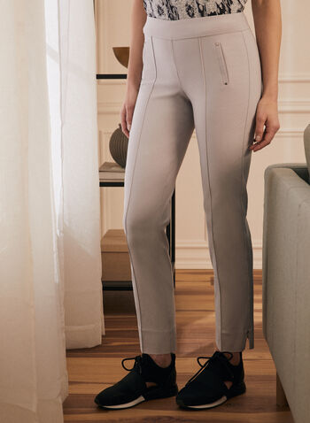 City Fit Slim Leg Pants, Grey,  pants, city, slim leg, bengaline, stretchy, ankle, rivets, slits, pull-on, pleats, spring summer 2020