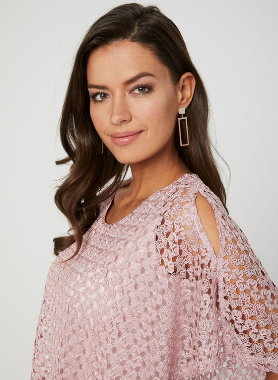 Crochet Poncho Top, Pink, hi-res