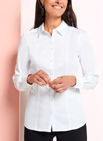 Long Sleeve Button Front Blouse, , hi-res