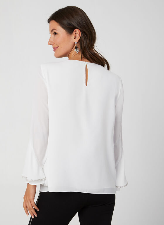 Rhinestone Detail Crepe Blouse, Off White