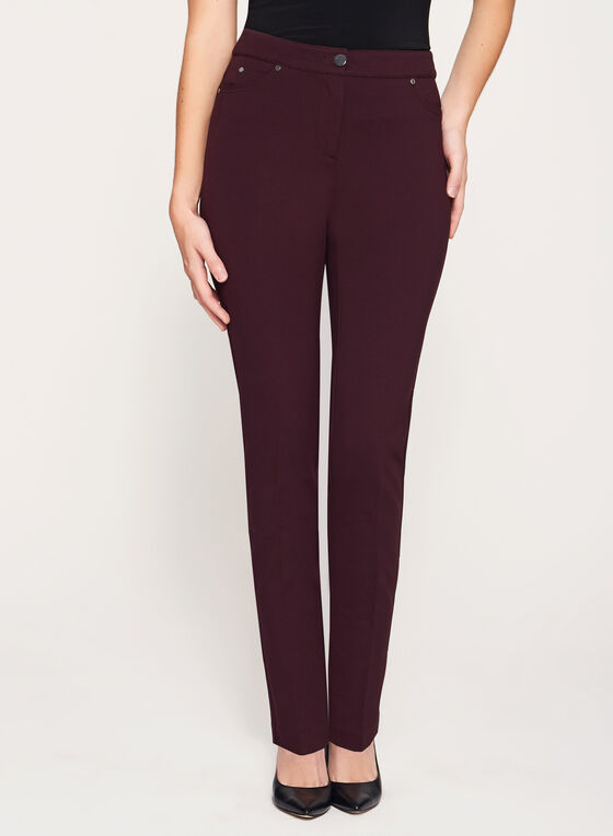 Pantalon coupe moderne à jambe étroite, Violet, hi-res