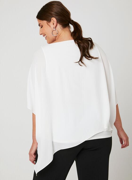 Blouse poncho asymétrique et détails strass, Blanc cassé, hi-res