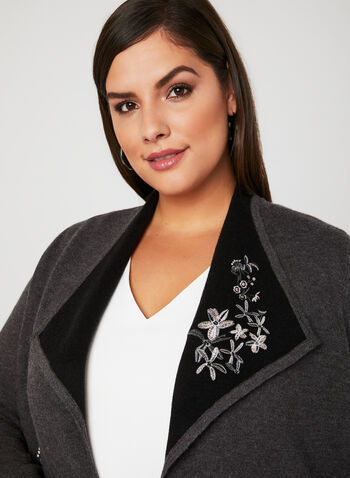 Floral Embroidered Knit Cardigan, Grey, hi-res