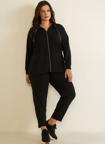 Zip Front Drawstring Detail Top, Black,  top, zip front, drawstring, long sleeves, fall winter 2020