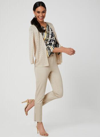 Pantalon coupe moderne à zips, Blanc cassé, hi-res
