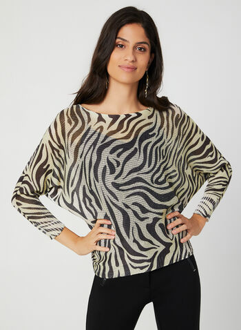 M Made in Italy - Pull animalier en tricot, Blanc, hi-res,  automne hiver 2019, pull, tricot, léopard, motif, imprimé, manches dolman, manches longues, zèbre, animal, animalier