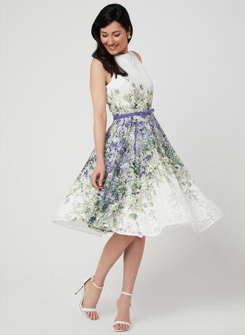 Fit & Flare Lace Dress, Purple, hi-res
