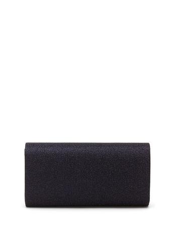 Metallic Trim Glitter Envelope Clutch  , Blue, hi-res