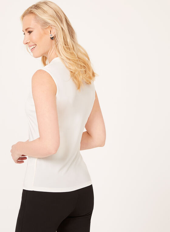 Sleeveless Scoop Neck Top, Off White, hi-res